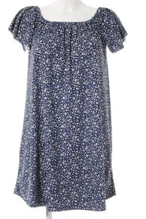 Mango Basics schulterfreies Kleid wollweiß-dunkelblau Blumenmuster Casual-Look