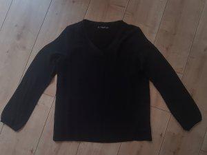 Mango Basics Shirt Longsleeve Langarmshirt Bluse Schwarz Black V-Ausschnitt XS/S 34/36