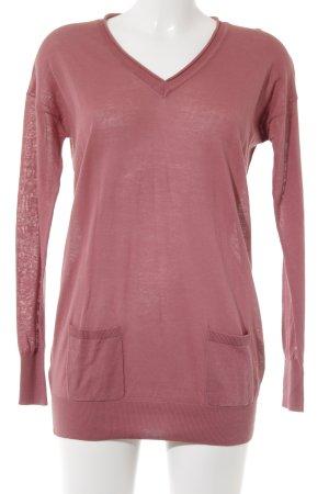 Mango Basics V-Ausschnitt-Pullover magenta Casual-Look
