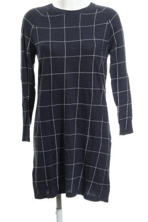 Mango Basics Vestido de lana azul oscuro-blanco estampado a cuadros look casual