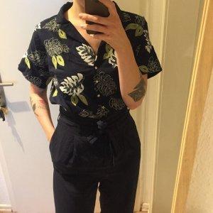 Mango besticktes dunkelblaues Baumwoll Hemd Bluse