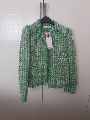 Mango Tweed Blazer white-green