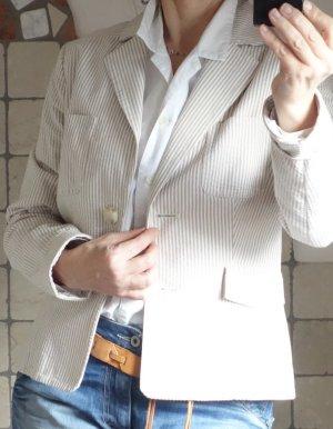 Mango Blazer, beige, creme, dezenter Streif, gestreift, gecreptes, leichtes Material aus 100% Baumwolle, Langarm, gefüttert, sehr gute Passform, NEU, Gr. 38/40