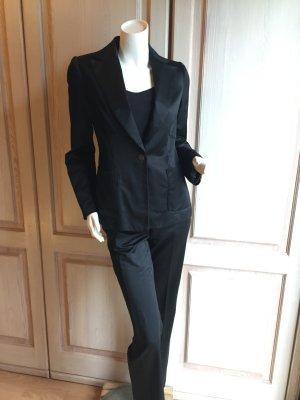 Mango Blazer Hose Anzug 34 schwarz glänzend