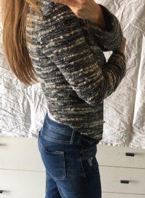 Mango Blazer Jacke Tweed Boucle schwarz weiß S M 36 cropped Neu