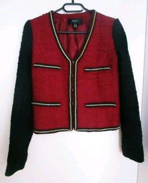 Mango Blazer Tweed 34/XS Rot Schwarz