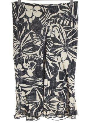 Mango Bleistiftrock hellbeige-schwarz florales Muster Elegant