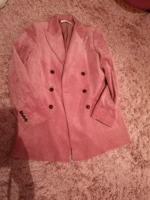 Mango Premium Boyfriend Blazer pink-dusky pink cotton