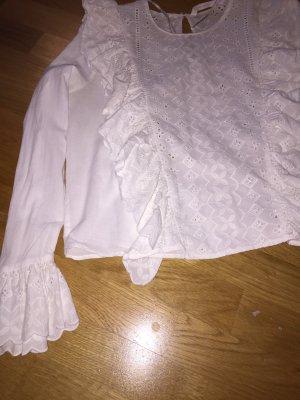 Mango Long Sleeve Blouse white cotton