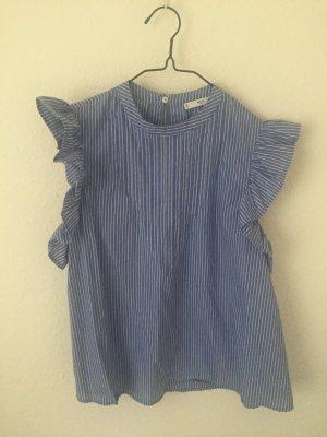 Mango Bluse blau gestreift mit Rüschen