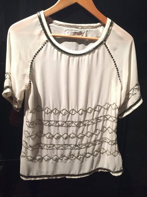 Mango Bluse, Blogger Top, Strass, Zara Style, nude, beige, 34/XS