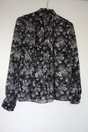 Mango Bluse Business mit Schluppe Blumenmuster schwarz grau Gr. XS