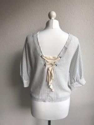 Mango Slip-over blouse wit-blauw