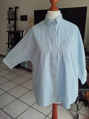 Mango Oversized blouse wit-azuur