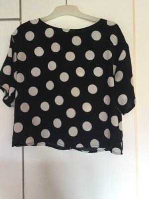 Mango Bluse schwarz mit großen weißen Punkten