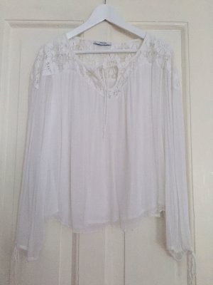 Mango Suit Blusa in merletto bianco Fibra sintetica