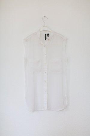 Mango Bluse Top ärmellos transparent Punkte weiß Gr. S Vintage Look