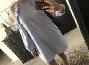 Mango Vestido camisero azul celeste