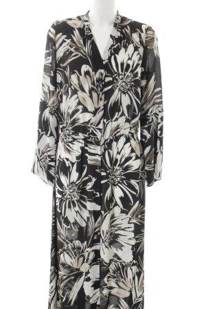 Mango Blusenkleid schwarz-weiß florales Muster Transparenz-Optik