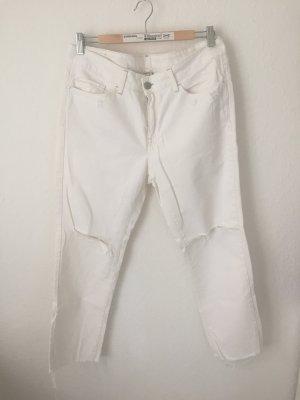 Mango Boyfriend Jeans mit Rissen Weiß