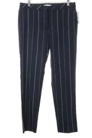 Mango Pantalon à pinces bleu foncé-blanc motif rayé style décontracté