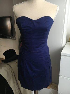 Mango Vestido bustier azul