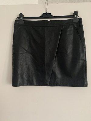 Mango Falda de cuero negro