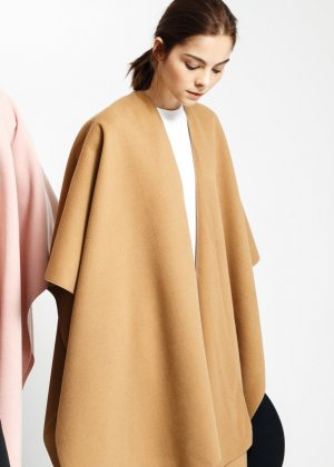 Mango Cape Waterfall Poncho Mantel Beige Camel Nude One Size Uni Blogger S M