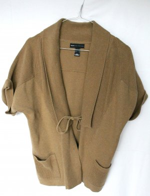 Mango Short Sleeve Knitted Jacket light brown
