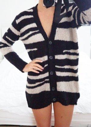 Mango Cardigan schwarz beige Wool Blend Wolle warm kuschelig weich S 36