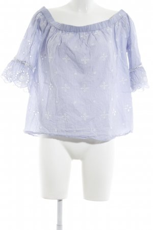 Mango Carmen Blouse white-cornflower blue striped pattern casual look