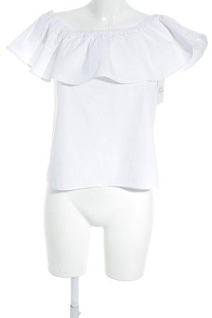 Mango Top épaules dénudées blanc style romantique