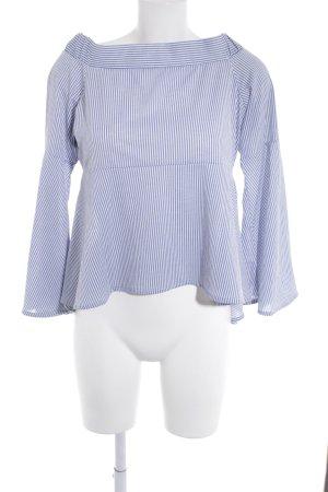 Mango casual Carmen blouse staalblauw-wit gestreept patroon Beach-look