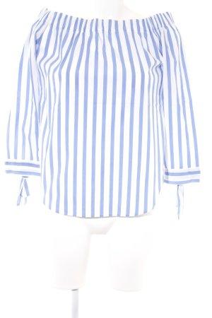 Mango casual Carmen-Bluse weiß-stahlblau Streifenmuster Casual-Look