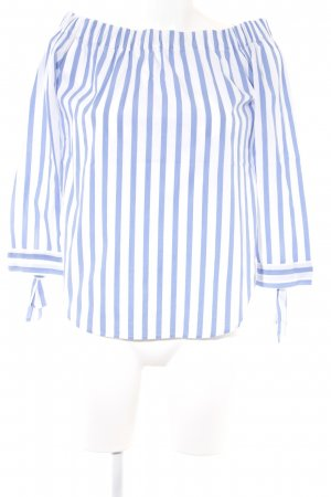 Mango casual Carmen blouse wit-staalblauw gestreept patroon casual uitstraling