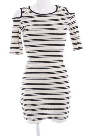 Mango casual Cut-Out-Kleid wollweiß-schwarz Streifenmuster Casual-Look