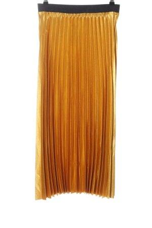 Mango casual Faltenrock goldfarben-schwarz Elegant