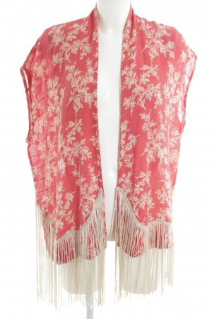 Mango casual Fringed Vest red-cream flower pattern casual look