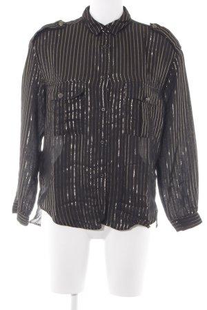 Mango casual Hemd-Bluse schwarz-goldfarben Streifenmuster klassischer Stil
