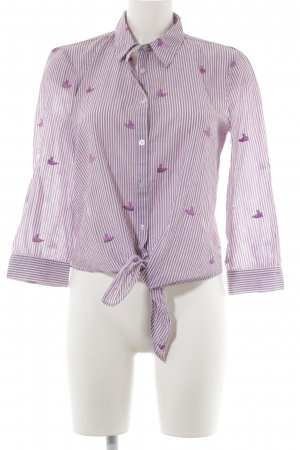 Mango casual Hemd-Bluse weiß-violett Streifenmuster Casual-Look