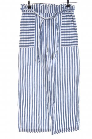 Mango casual High Waist Trousers white-slate-gray striped pattern casual look