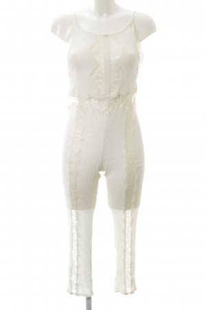 Mango casual Jumpsuit creme Spitzen-Optik