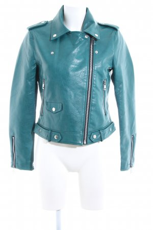 Mango casual Faux Leather Jacket turquoise casual look