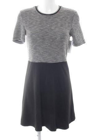 Mango casual Kurzarmkleid schwarz-hellgrau Streifenmuster Street-Fashion-Look