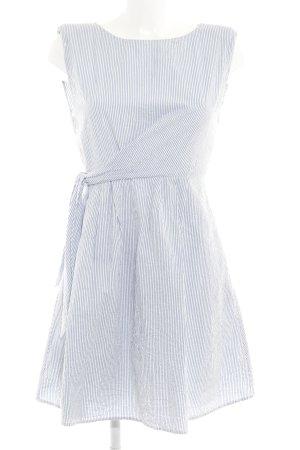 Mango casual Kurzarmkleid weiß-kornblumenblau Streifenmuster 50ies-Stil
