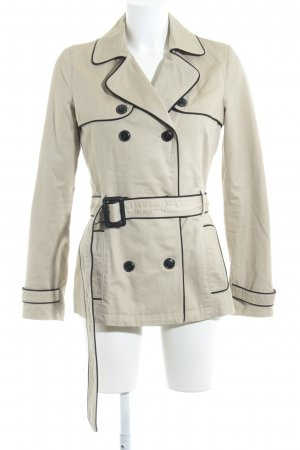 Mango casual Short Coat black-beige casual look