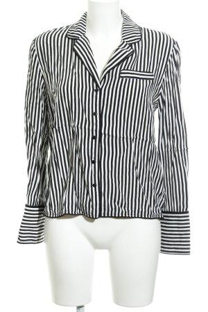 Mango casual Langarm-Bluse weiß-schwarz Streifenmuster Casual-Look