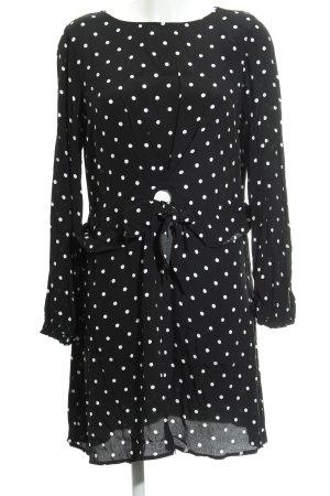 Mango casual Longsleeve Dress black-white spot pattern casual look