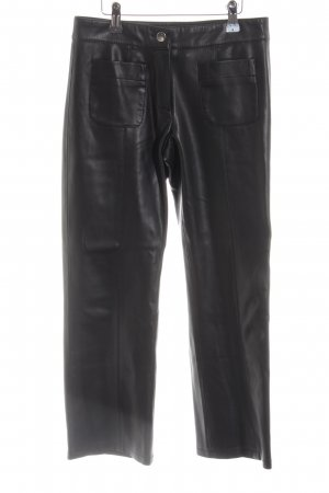 Mango casual Leather Trousers black extravagant style