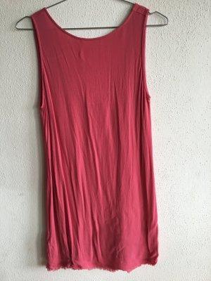 Mango Casual leichtesKleid pink rot Gr L tiefer Rücken-Ausschnitt